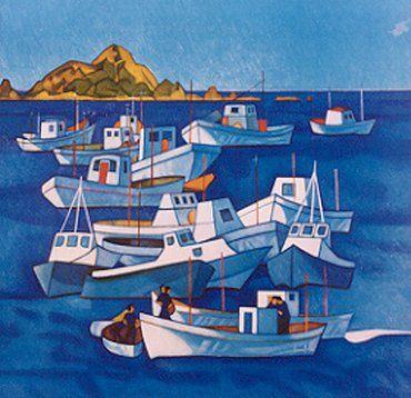 Rita Angus - Boats at Island Bay