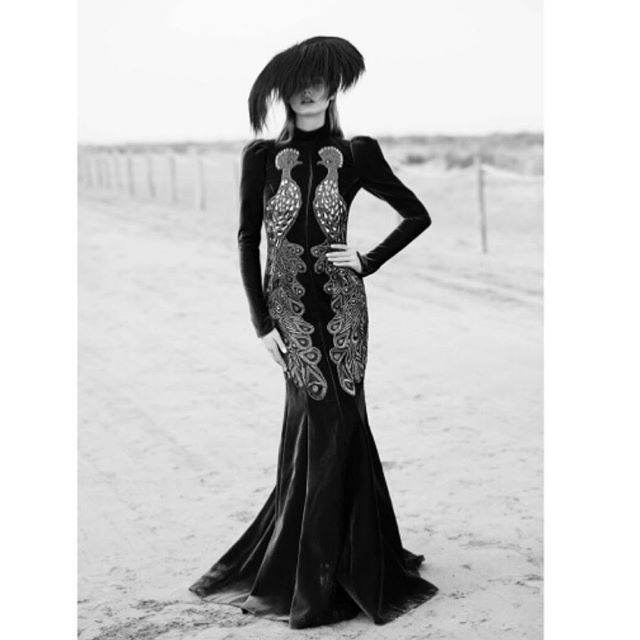 Stranded in a drama free desert.  Our #Fw17 #Peacock #velvet #gown turns heads in @harpersbazaarmx with genius styling from @dgestylist .  #andrewgn #eveninggown #editorial #harpersbazaarmexico