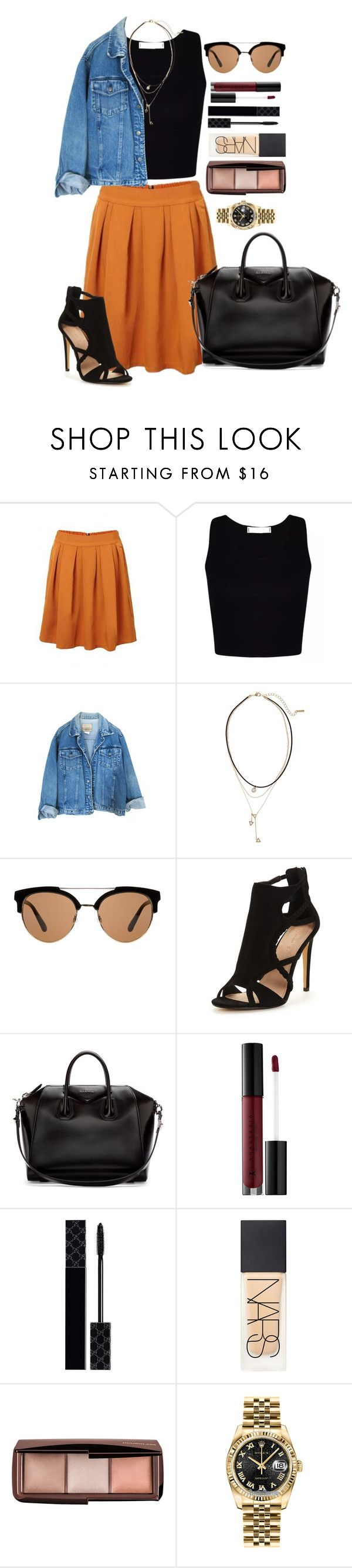 """""""Untitled #1495"""" by fabianarveloc on Polyvore featuring Loren Olivia, MANGO, Givenchy, Anastasia Beverly Hills, Gucci, NARS Cosmetics, Hourglass Cosmetics and Rolex"""