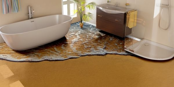 Beach flooring in the poolhouse