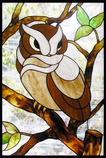 ZOOM to Stained Glass Owl Window