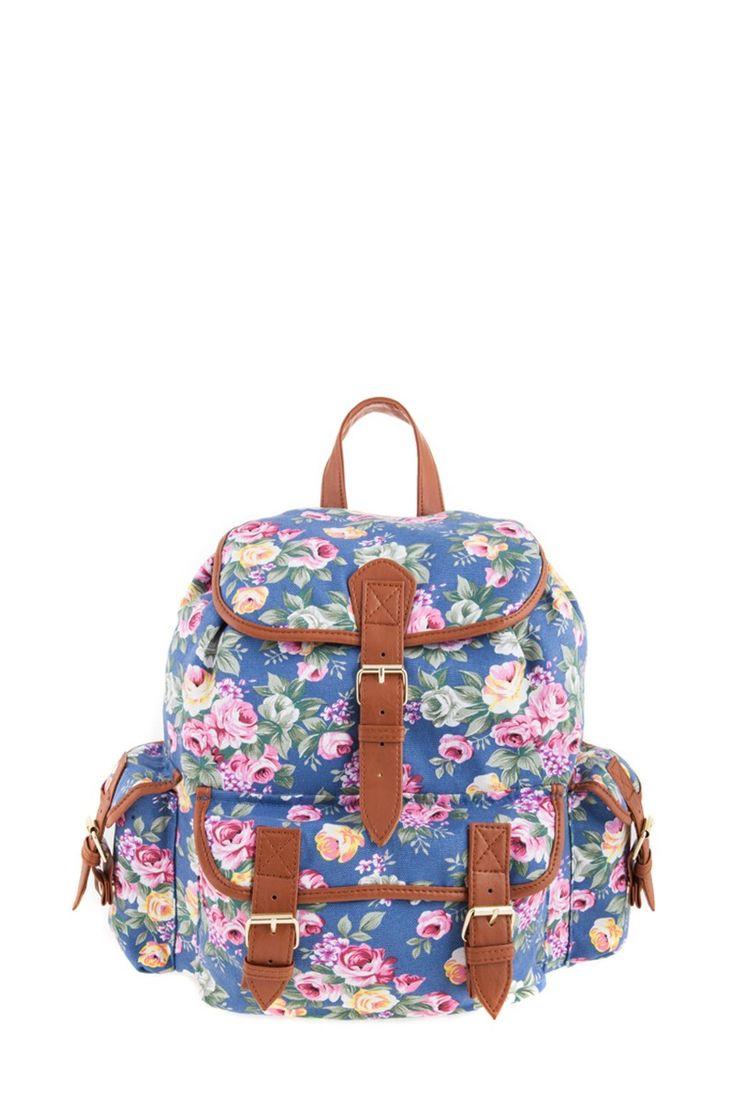 1534106630, BLUE, Floral backpack ,Floral σακίδιο πλάτης