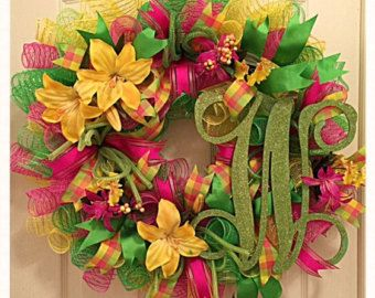 Elegant Gerber Daisy Deco Mesh Wreath/Summer by CKDazzlingDesign