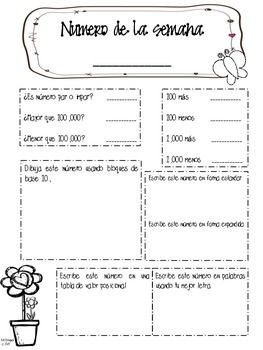NUMBER OF THE WEEK & WORD OF THE WEEK *DUAL LANGUAGE* - TeachersPayTeachers.com #cute #bilingual