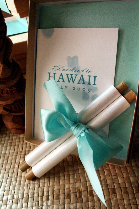 Bamboo Scroll Invitation Hawaii Destination Wedding