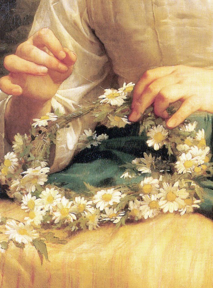 Child Braiding A Crown (detail) 1874, by William-Adolphe Bouguereau  French academic painter  Born: November 30, 1825, La Rochelle, France