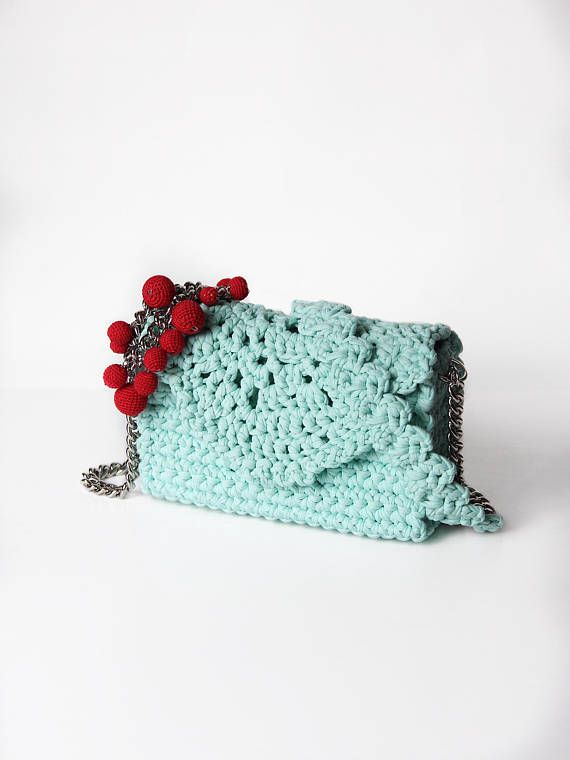 Mint crocheted lace clutch bag with elegant chain  Romantic