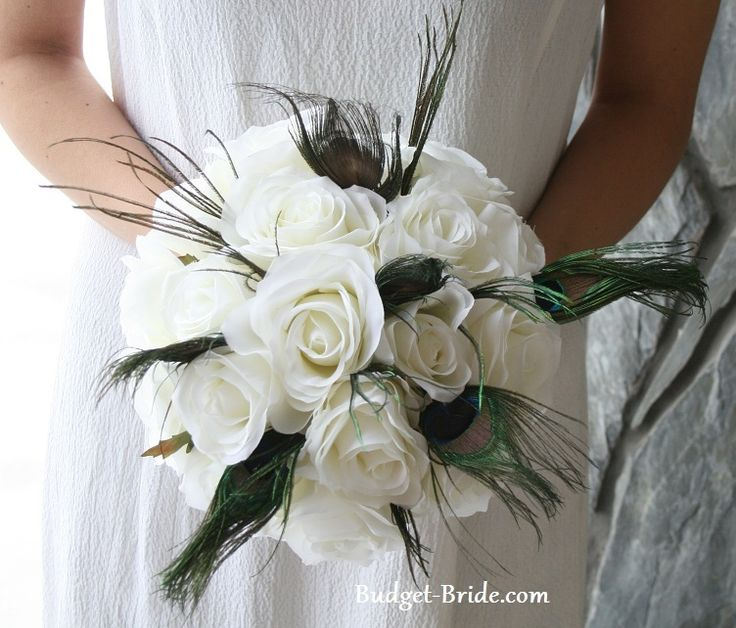 White Wedding Bouquets With Peacock Feathers Best Images About Flowers On