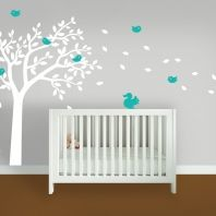 Sticker wall art - birds and squirrels in a tree