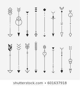 Flaches Design der Hippie-Pfeilmuster-Vektor-Illustration
