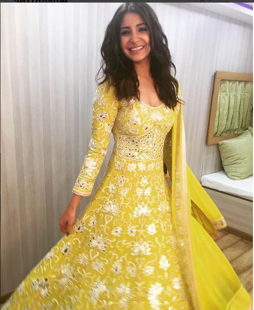 Anushka Sharma In A Light Green Mirror Work Anarkali .For this dress kindly mail us contact@ladyselection.com