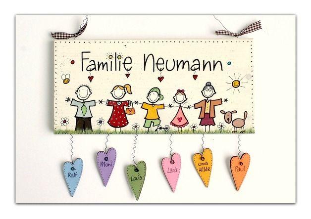 Namensschild für die Haustür, individualisierbar / funny illustrated door sign for your family, with individual name made by Schilderwaldi via DaWanda.com