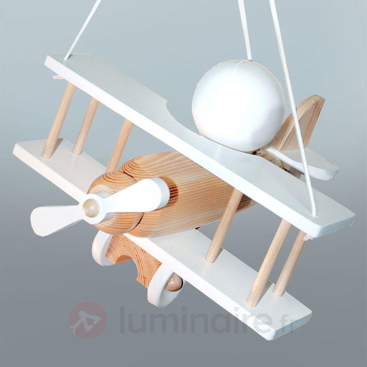 stunning suspension blanche avion en lments de bois with lampe avion plafonnier. Black Bedroom Furniture Sets. Home Design Ideas