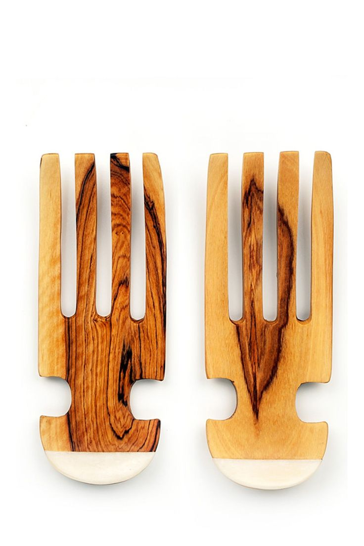 Wild Olive Wood & White Bone Curved Salad Claws | available at Accompany
