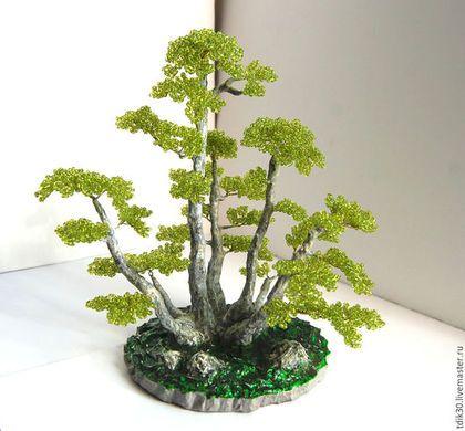 """Бонсай ручной работы. Ярмарка Мастеров - ручная работа. Купить Бонсай из бисера """"Единство"""". Handmade. Ярко-зеленый, деревья, гипс"""