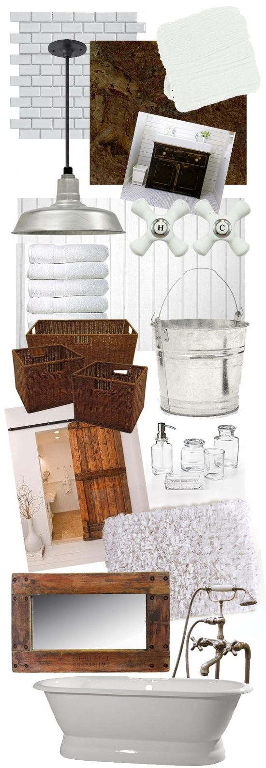 Bathroom Moodboard - Rustic - Bathroom interiors - design ideas. H/C handles, light, tile