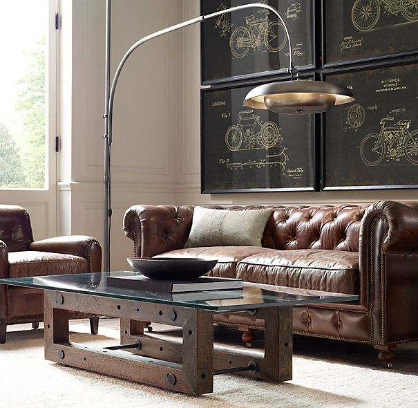 RH's Petite Kensington Leather Sofa:A masterful reproduction by Timothy Oulton of the classic Chesterfield style, our sofa evokes the grand gentlemen