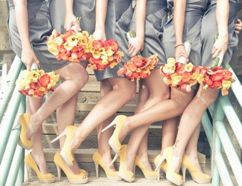 cute pose!: Yellow Flowers, Colors Combos, Yellow Shoes, Colors Schemes, Bridesmaid Photo, Fun Photo Ideas, Bridesmaid Pictures, Fall Wedding, Grey Dresses