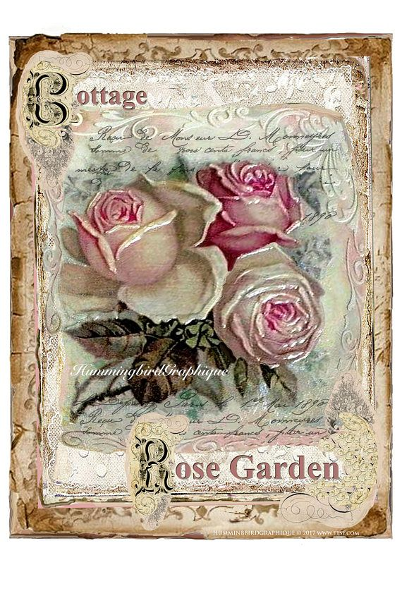 COTTAGE ROSE GARDEN Large Image Instant Download French Shabby Chic Vintage Transfer Fabric Roses Pillow Transfer Journal Kit png pdf jpg