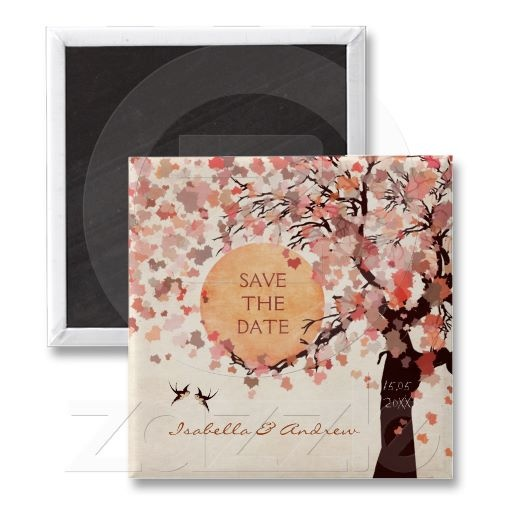 Love Birds - Fall Wedding Save the Date Magnet.