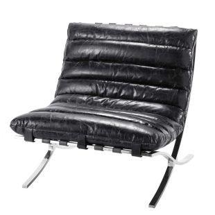Fauteuil cuir noir - beaubourg