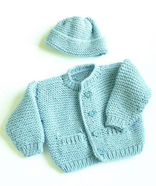 Robert Cardigan Pattern Knit Lion Brand Yarn Baby E