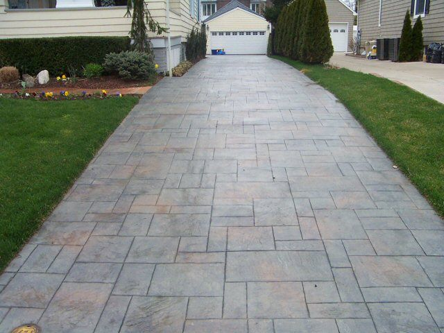 Stamped concrete driveway                                                                                                                                                                                 More
