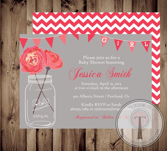baby girl baby shower invitation baby shower invite mason jar baby