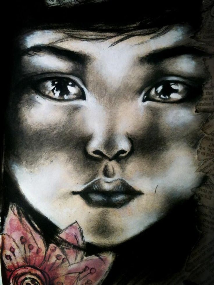 Charcoal drawing of image by Artist Stephanie Ledoux for GSCE art sketchbook