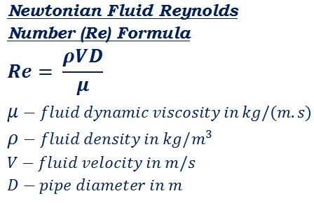 formula to calculate Newtonian fluid flow reynolds number @ http://ncalculators.com/mechanical/reynolds-number-calculator.htm