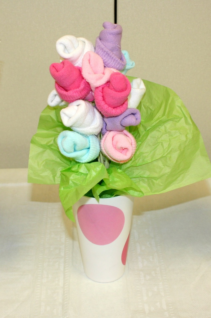 Baby sock rose bouquet for baby shower