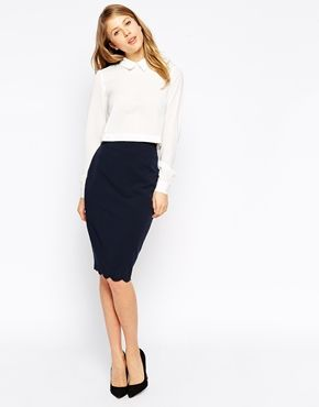 Pencil skirt with scallop hem and clean white blouse