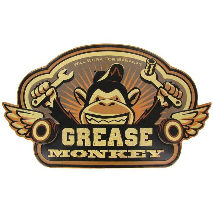 Grease Monkey Die Cut Tin Sign