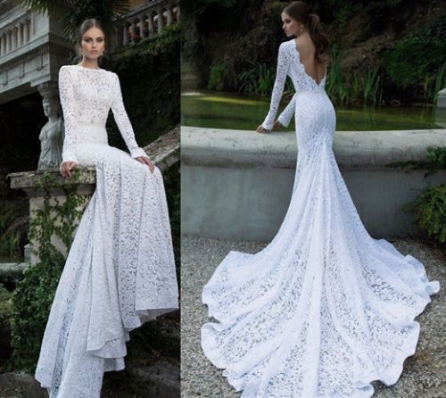 SashCouture1 (etsy) - Super soft, very feminine, cut out back, long sleeves wedding dress
