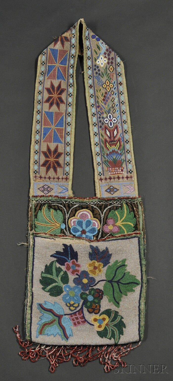 GREAT LAKES BEADED CLOTH BANDOLIER BAG, OJIBWAY, C. LATE 19TH CENTURY, THE POUCH DONE IN OVERLAY STITCH WITH MULTICOLORED FLORAL DEV... - AMERICAN INDIAN & ETHNOGRAPHIC ARTS - SALE 2563B - LOT 253 - Skinner Inc