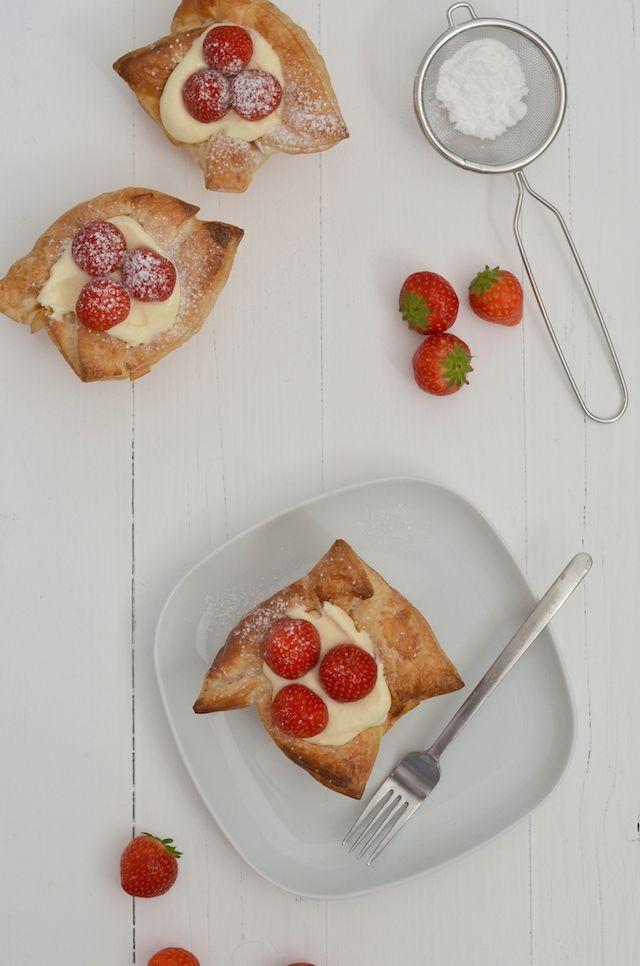 Aardbeienschelpen - strawberry puff pastry
