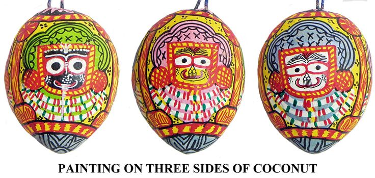 Jagannathdev Pata Painting on Three Sides of Hanging Coconut (Orissa Paata Painting on Coconut Shell)