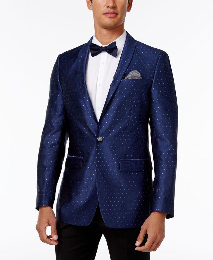 Tallia Men's Big & Tall Slim-Fit Navy Dot Formal Dinner Jacket