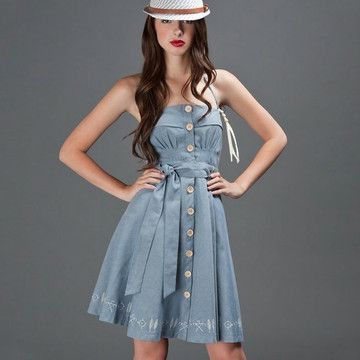 Fab.com | Totem Dress Blue, how cute is this! this would be pretty easy to make i think... maybe recycled from a men's oversized button down shirt?