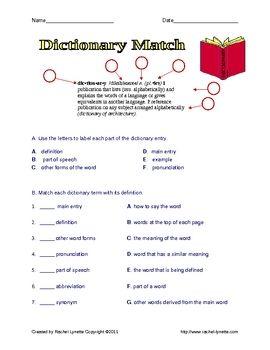 FREE Dictionary Worksheets with Answer Keys - Rachel Lynette - TeachersPayTeachers.com