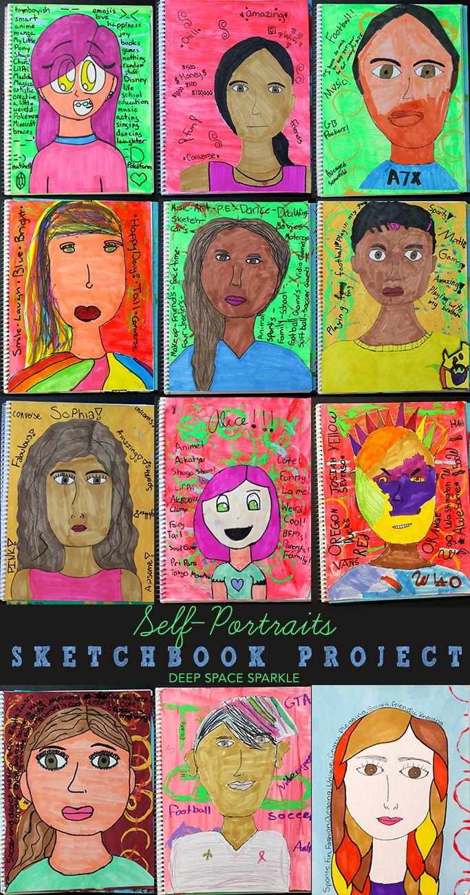 Sketchbook Project 5 Expressive Self Portraits Art Lessons