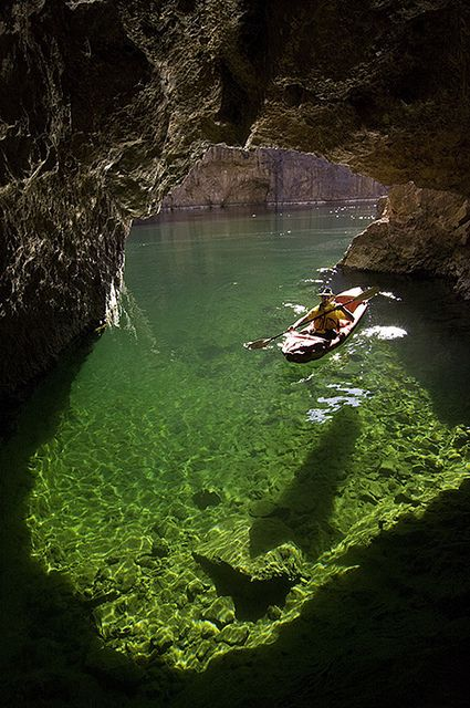Kayaking Emerald Cave, Colorado River in Black Canyon, Arizona