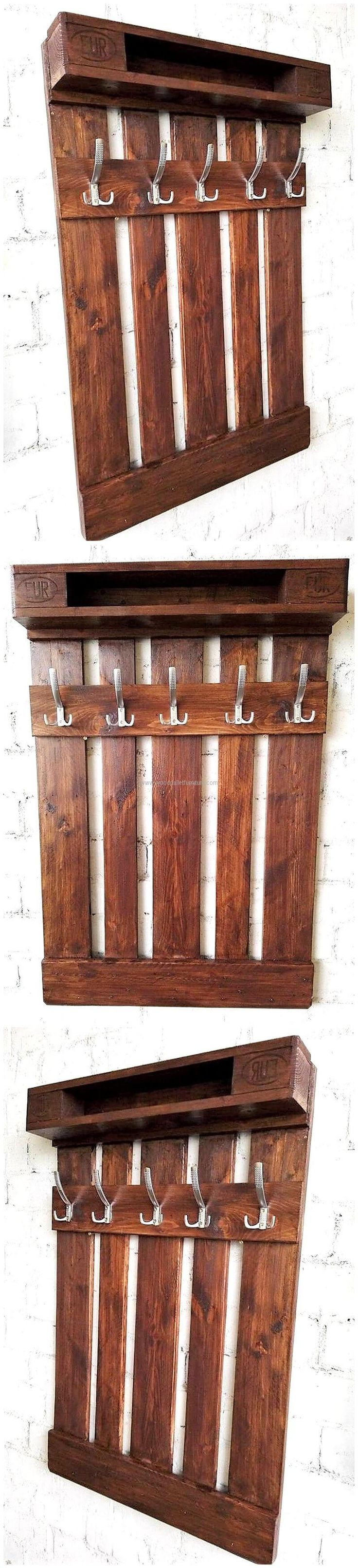 Hanger is needed in every home because there are clothes that are required to be hanged and the keys are also needed to be hanged to keep them on the place. So, here we have an idea of clothes hanger made up of wood pallets, which is sophisticated in looks.