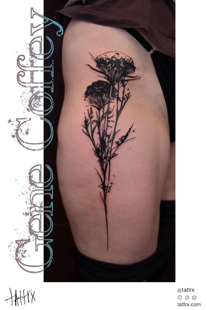 Queen Anne's lace flower tattoo meaning delicate femininity