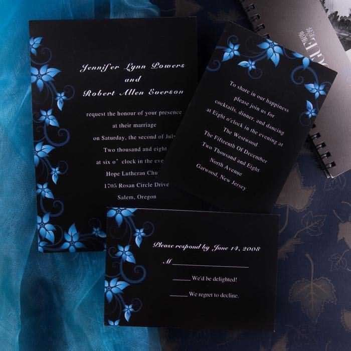 wedding invitation wording with no reception%0A Modern Black and Blue Wedding Invitations  Blue Damask Wedding Invite   Rustic Wedding Theme Card With Free RSVP Cards And Envelope by  elegantinvites