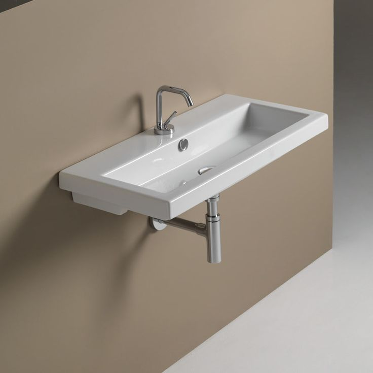 Bathroom Sink Tecla 4002011 Rectangular White Ceramic
