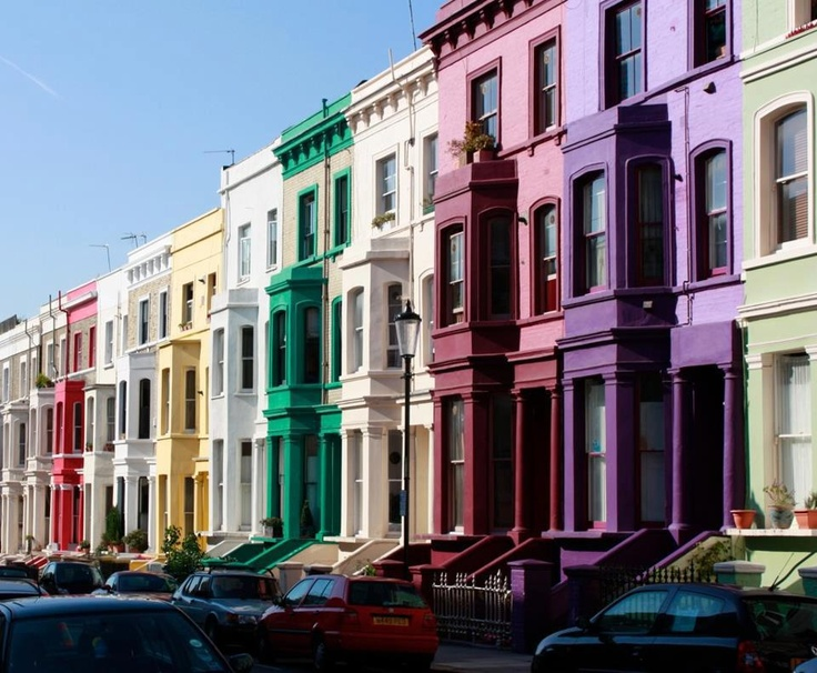 colourful houses near London's Portobello Road Market