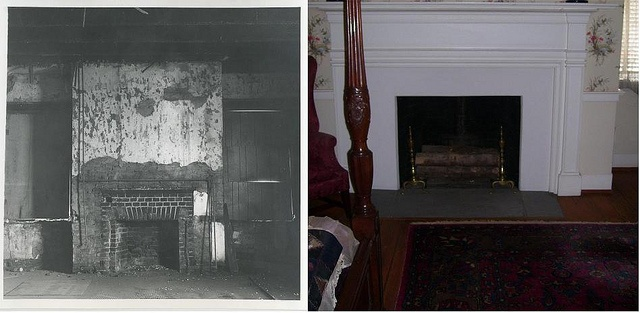 Before and after restoration of the guest bedroom at the Mary Todd Lincoln House in Lexington, KY