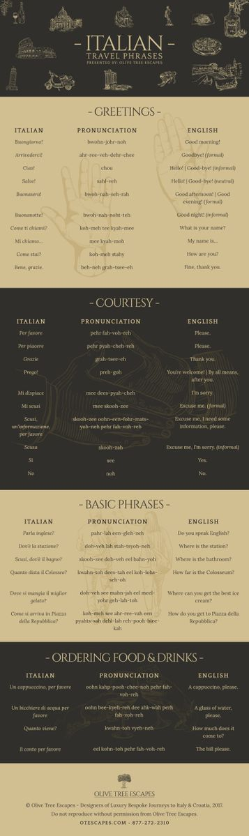Impress the locals on your next #Trip to #Italy with this handy #Travel #Infographic! #Italian #TravelTips #speaklikealocal #likeapro #italianinfographic
