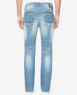Buffalo David Bitton Men's Slim-Straight Six-x Ripped Jeans - Blue 40x30